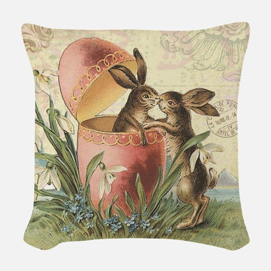 Vintage French Easter bunnies in egg Woven Throw P