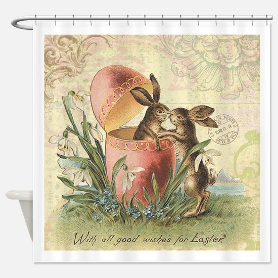 Vintage French Easter bunnies in egg Shower Curtai