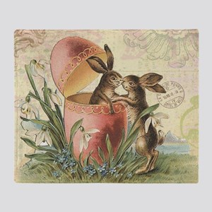 Vintage French Easter bunnies in egg Throw Blanket