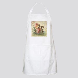 Vintage French Easter bunnies in egg Apron