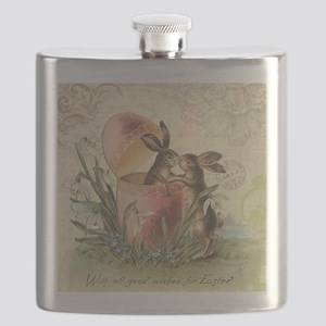 Vintage French Easter bunnies in egg Flask