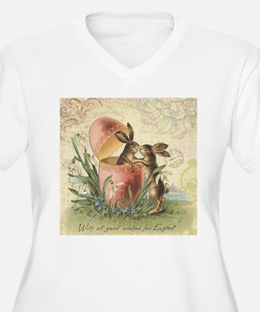 Vintage French Easter bunnies in egg Plus Size T-S