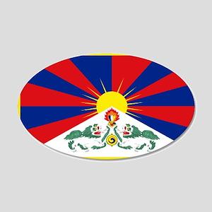 Tibet flag 20x12 Oval Wall Decal