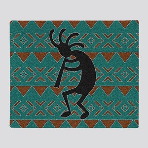 Kokopelli Turquoise Southwest Throw Blanket