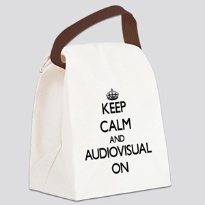 Keep Calm and Audiovisual ON Canvas Lunch Bag