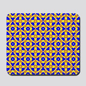 Orange Blue And Yellow Floral Mousepad