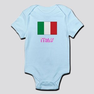 Italy Flag Pink Flower Design Body Suit