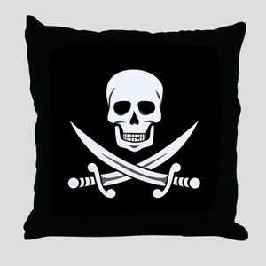 Skull and Swords Jolly Roger Throw Pillow