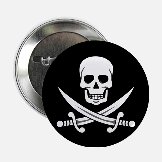 "Skull and Swords Jolly Roger 2.25"" Button"