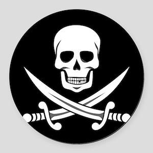 Skull and Swords Jolly Roger Round Car Magnet