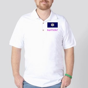 Kentucky Flag Pink Flower Design Golf Shirt