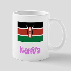 Kenya Flag Pink Flower Design Mugs