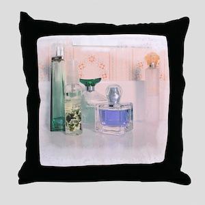 Pastel perfume bottles Throw Pillow