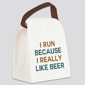 I run because I really like beer Canvas Lunch Bag
