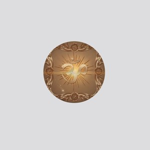 Om symbol made of rusty metal Mini Button