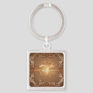 Om symbol made of rusty metal Keychains