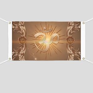Om symbol made of rusty metal Banner