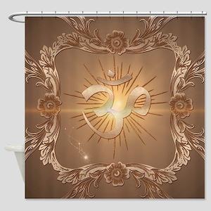 Om symbol made of rusty metal Shower Curtain