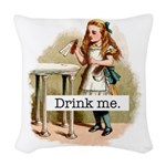 Drink Me Alice in Wonderland Woven Throw Pillow