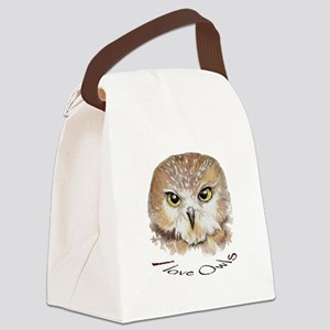 """I love Owls"" Cute Watercolor Owl Bird Art Canvas"