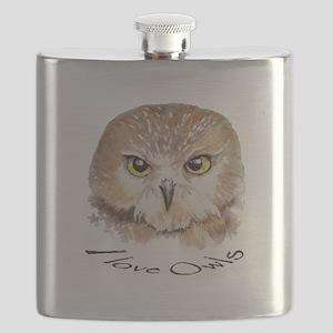 """I love Owls"" Cute Watercolor Owl Bird Art Flask"