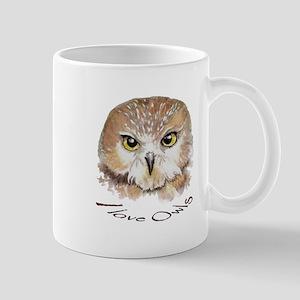 """""""I love Owls"""" Cute Watercolor Owl Bird Art Mugs"""