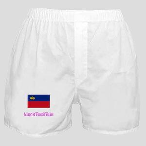 Liechtenstein Flag Pink Flower Design Boxer Shorts