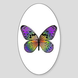 Butterfly Design Oval Sticker