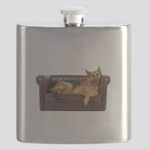GERMAN SHEPHERD ON COUCH Flask