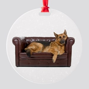 GERMAN SHEPHERD ON COUCH Round Ornament