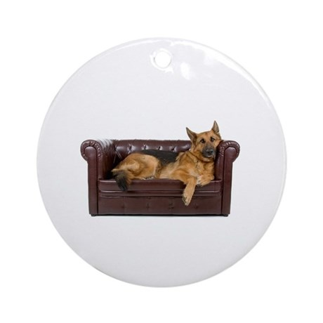 GERMAN SHEPHERD ON COUCH Ornament (Round)