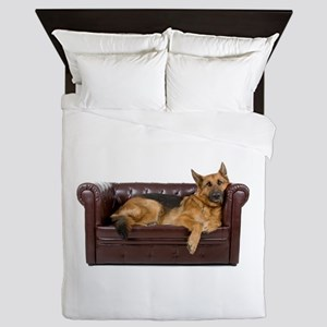 GERMAN SHEPHERD ON COUCH Queen Duvet