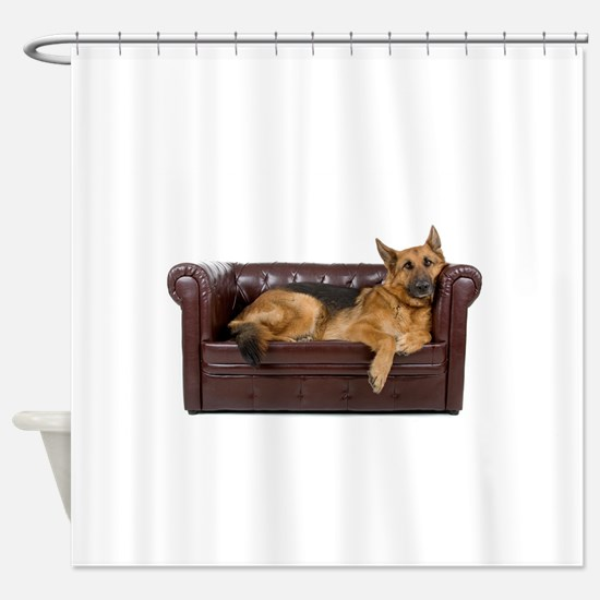 GERMAN SHEPHERD ON COUCH Shower Curtain
