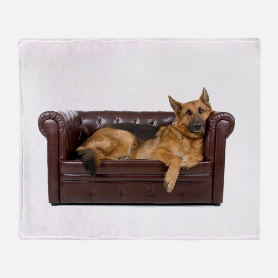 GERMAN SHEPHERD ON COUCH Throw Blanket
