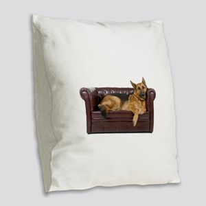 GERMAN SHEPHERD ON COUCH Burlap Throw Pillow