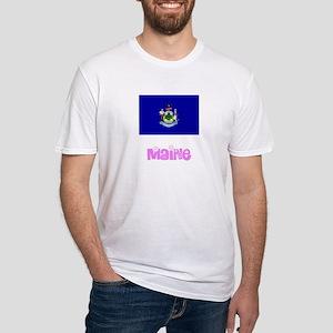 Maine Flag Pink Flower Design T-Shirt