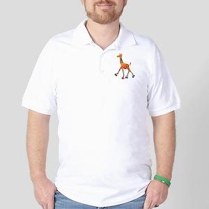 Roller Skating Giraffe Golf Shirt