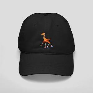 Roller Skating Giraffe Black Cap