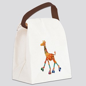Roller Skating Giraffe Canvas Lunch Bag