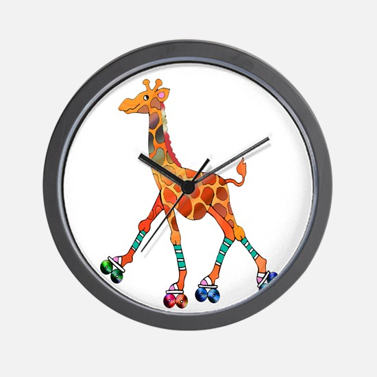 Roller Skating Giraffe Wall Clock