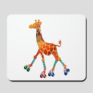 Roller Skating Giraffe Mousepad