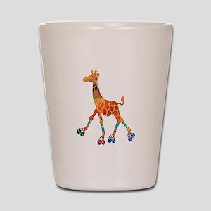 Roller Skating Giraffe Shot Glass