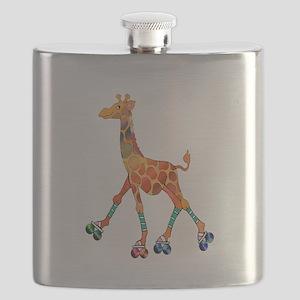 Roller Skating Giraffe Flask