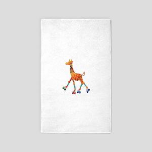 Roller Skating Giraffe Area Rug