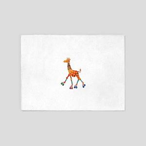 Roller Skating Giraffe 5'x7'Area Rug