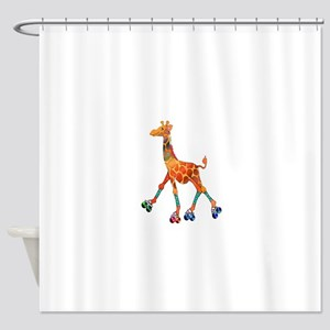 Roller Skating Giraffe Shower Curtain