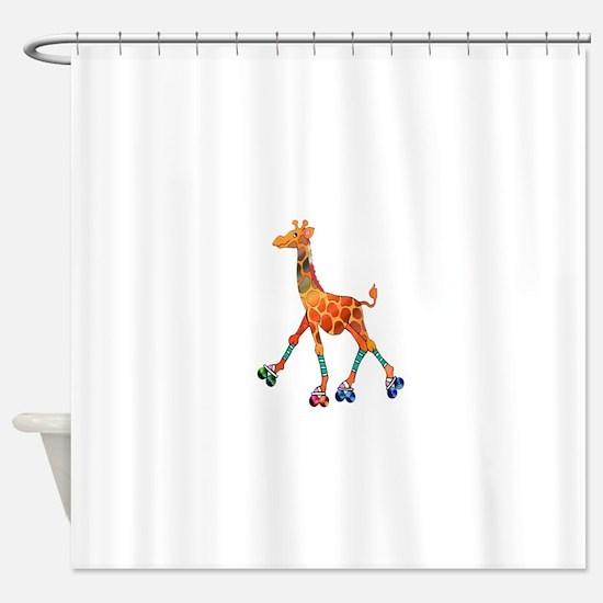 Roller Skating Giraffe Shower Curtain