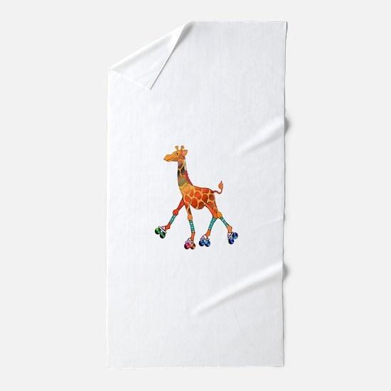 Roller Skating Giraffe Beach Towel