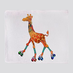 Roller Skating Giraffe Throw Blanket