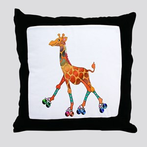 Roller Skating Giraffe Throw Pillow